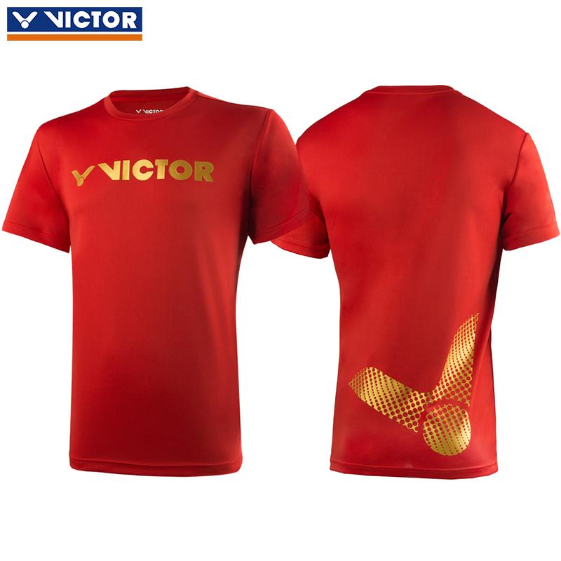 胜利victor羽毛球服 威克多比赛训练运动短袖T恤95006D 男女通用款 红色