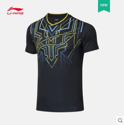 李宁乒乓球服T恤短袖上衣 AAYQ051-3 男款运动比赛服 标准黑