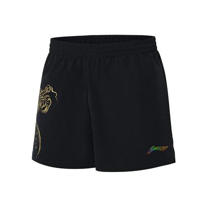 李宁 乒乓运动服 2021新品男子乒乓奥运系列运动服比赛短裤AAPR365 黑色