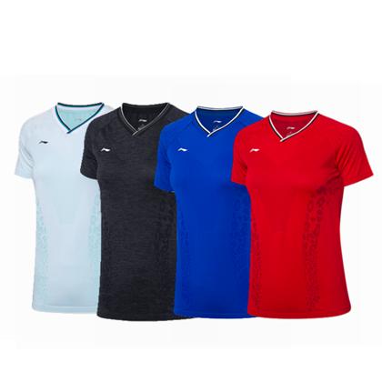 李宁比赛上衣 AAYP098女款中国羽毛球队球迷版短袖