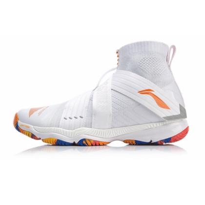 李宁变色龙四代 女款羽毛球鞋 AYAP008(Ranger4.0)标准白/冰橙色 时尚潮牌羽鞋