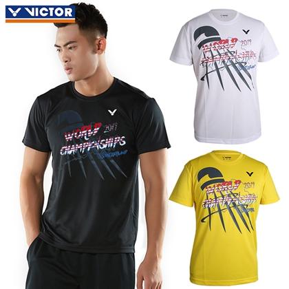 胜利VICTOR 羽毛球服 T-90064 男女款圆领短袖 速干透气世锦赛纪念文化衫