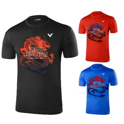 胜利VICTOR 羽毛球服 T-95017 男女款圆领短袖 速干透气不粘身 中国常州公开赛龙纹纪念衫