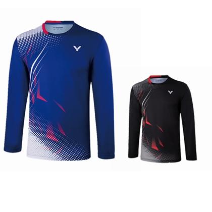 胜利VICTOR羽毛球服 T-85102F/85102C 比赛服羽毛球运动服 圆领长袖T恤  方纳石蓝/黑色