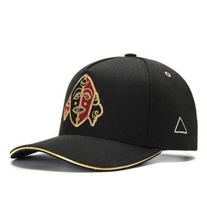 GC岗措棒球帽 喜马拉雅文化原创品牌 面具系列 黑布金标 可调节帽围 男女通用旅行户外帽子