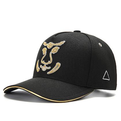 GC岗措棒球帽 喜马拉雅文化原创品牌 老虎系列 黑布金标 可调节帽围 男女通用旅行户外帽子