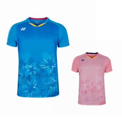 尤尼克斯YONEX 羽毛球服 10378EX 短袖运动T恤 男款 樱花粉/明亮蓝 双色可选