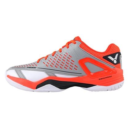 胜利VICTOR 羽毛球鞋 SH-P9300 男女款 稳定型羽毛球鞋 月岩灰/番茄红