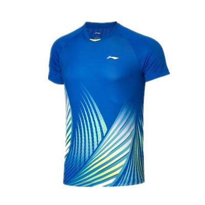 李寧比賽上衣 AAYQ067-1 男 晶藍色短袖T恤(湯尤杯同款圖案,團購推薦款)