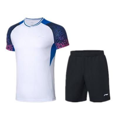 李宁比赛套装 AATQ023-3男款羽毛球服套装,羽毛球服团购套装
