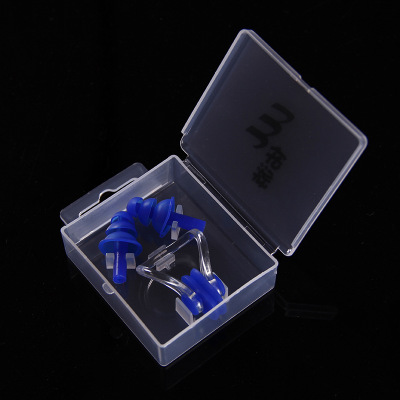 佑游 鼻夹耳塞1对 防水硅胶材质 预防呛水 深蓝