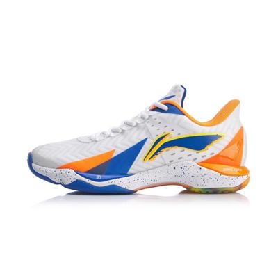 李宁羽毛球鞋 AYAQ007-1(突袭III 突袭三代) 男款 标准白/荧光耀橙/晶蓝色