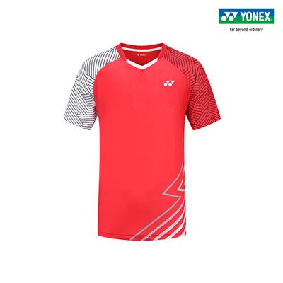 尤尼克斯YONEX羽毛球服 110130BCR 男款 短袖 清新红