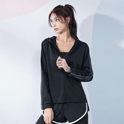 范斯蒂克运动上衣 FOR20573 女款 拉链连帽长袖 黑色