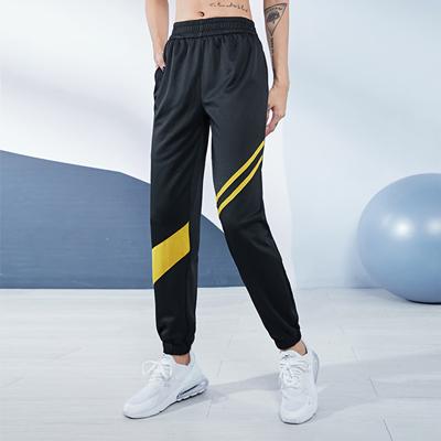 范斯蒂克运动长裤 FOR20538 女子春秋款束脚裤 黑拼蜜蜂黄