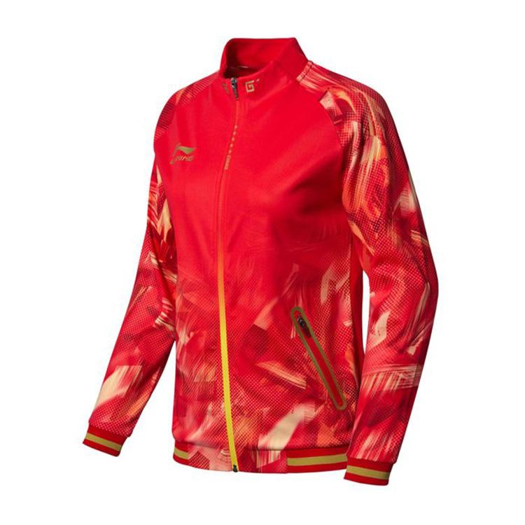 李宁乒乓球服 AWDN902-2 开衫无帽卫衣 长袖外套 红色女款