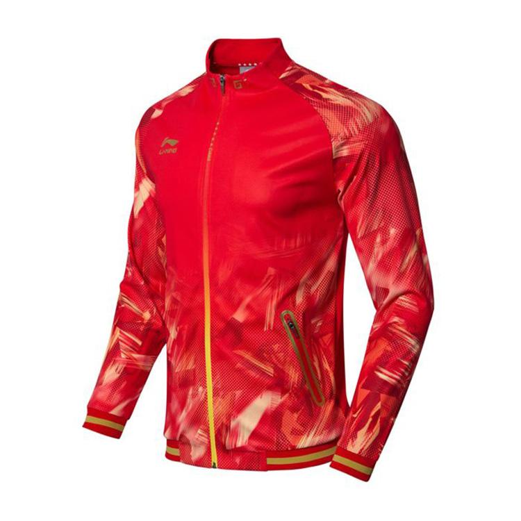 李宁乒乓球服 AWDN937-2 开衫无帽卫衣 长袖外套 红色男款