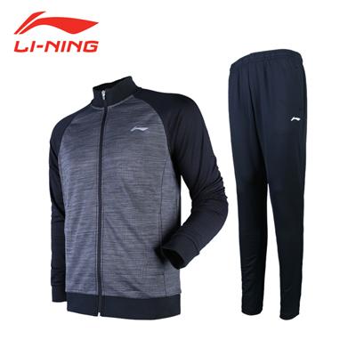 李宁羽毛球服 AWEN017-2 男款 运动套装 长袖无帽外套(标准黑) 长裤(标准黑)