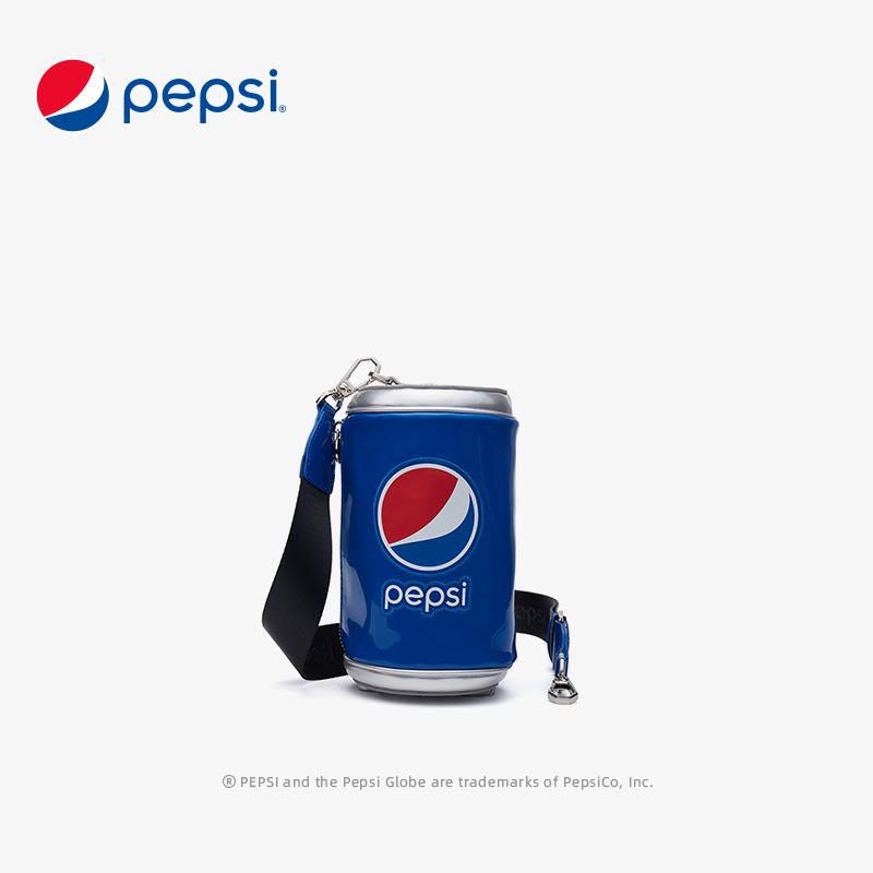 百事Pepsi包包网红百事可乐圆筒小包包个性搞怪可乐斜挎包潮 蓝色