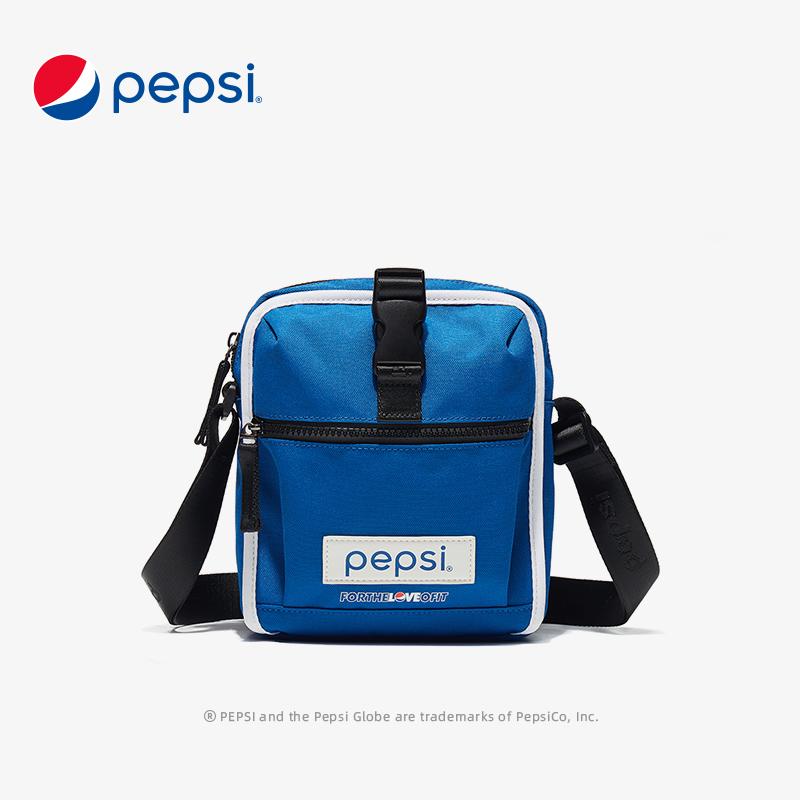 百事Pepsi包包新款时尚轻便单肩斜挎包个性设计帆布小手机包潮 靛蓝色