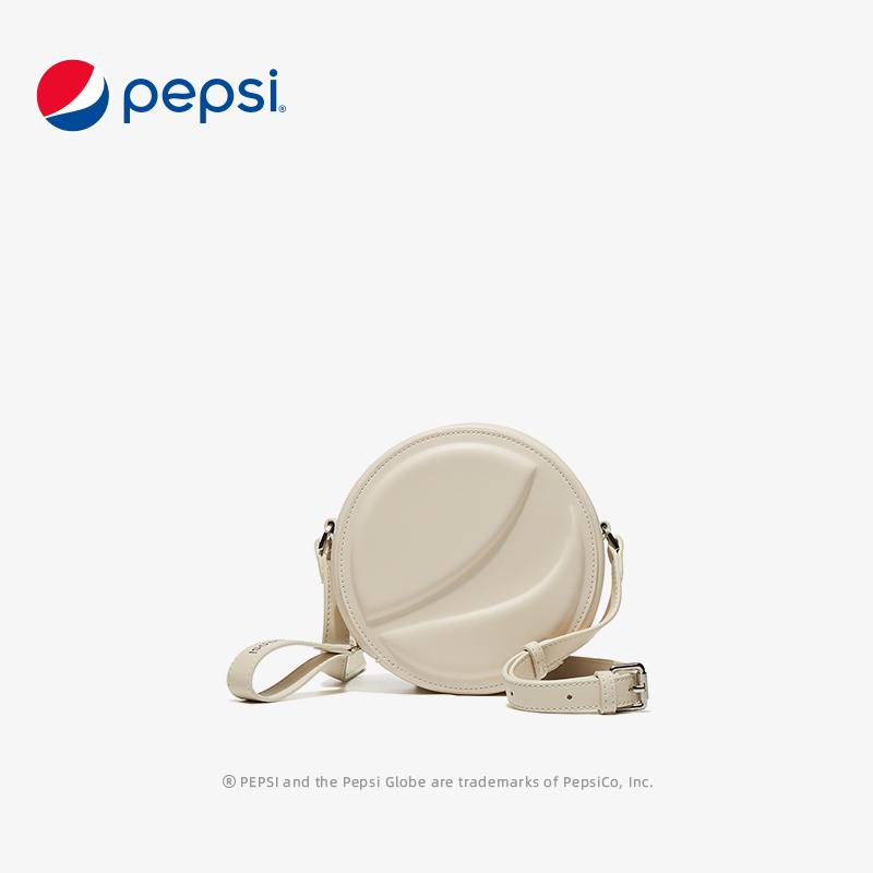 百事Pepsi包包新款百搭时尚复古单肩斜挎包百搭宽肩带小圆包 米白色