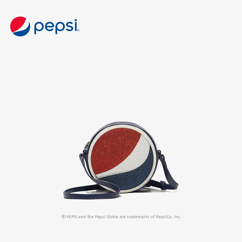 百事Pepsi女包新款時尚潮流休閑寬肩帶小圓包圓餅包百搭單肩斜挎小包