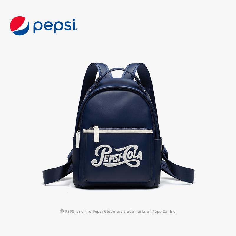 百事Pepsi包包新款绣花双肩包时尚个性动感潮流双肩背包 深海蓝