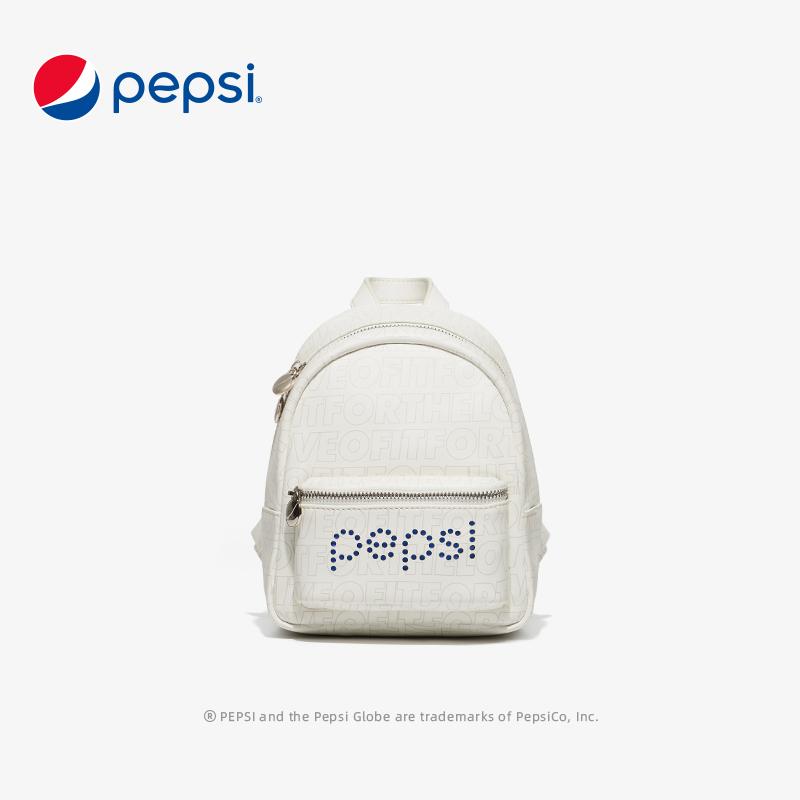 百事Pepsi新款潮流女士包印花时尚百搭大学生背包 米白色