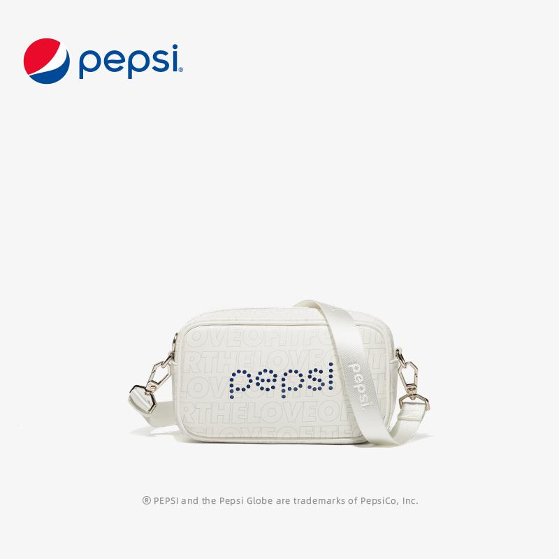 百事Pepsi包包新款时尚潮流小方包单肩小挎包斜挎包女百搭小包 米白色
