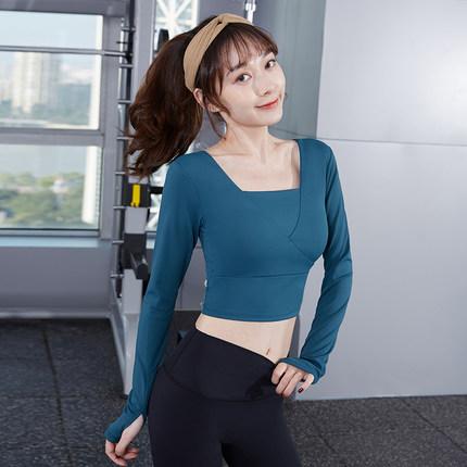 范斯蒂克 健身衣女跑步训练专业紧身长袖t恤显瘦运动上衣美背带胸垫瑜伽服 蓝色BT1738