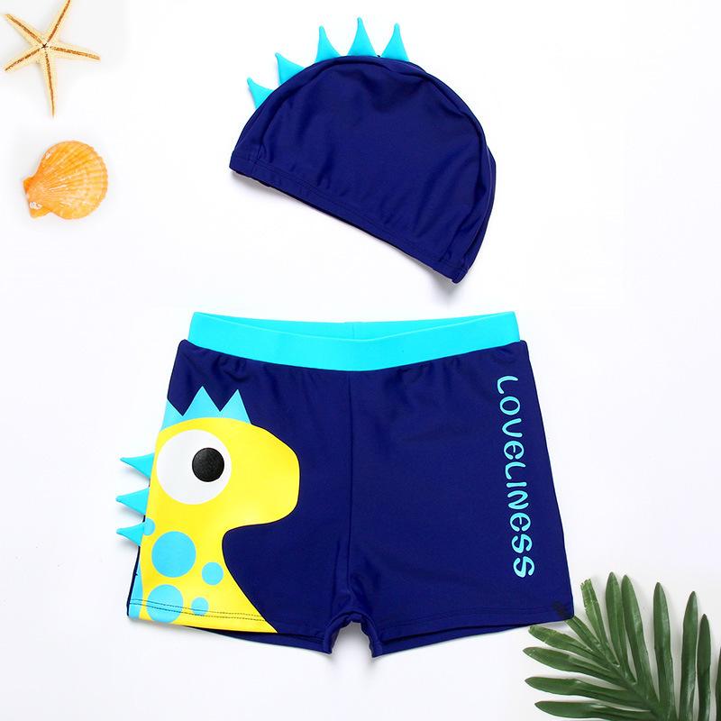 佑游 5801 男童泳裤平角游泳衣蓝色恐龙带帽子