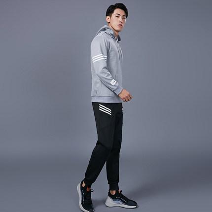 范斯蒂克 男款运动套装宽松休闲卫衣二件套健身房跑步训练篮球衣服 花灰色MBF20179