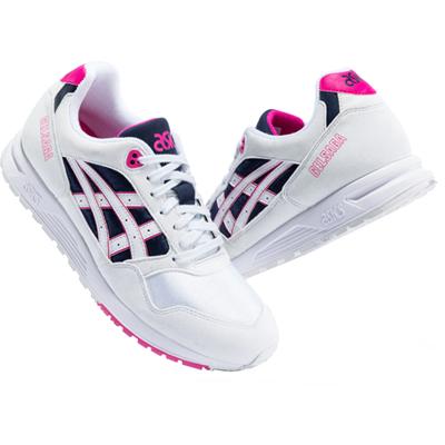 ASICS亞瑟士 GEL-SAGA情侶款復古休閑鞋舒適運動跑鞋男女款1193A071-104 白色/深藍色