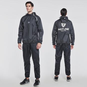 范斯蒂克 暴汗服健身套装发汗服运动服两件套健身房发汗运动套装 黑色TC2876