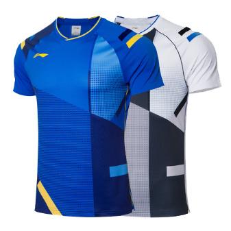 李宁羽毛球比赛服 AAYR009 全英公开赛男款短袖T恤
