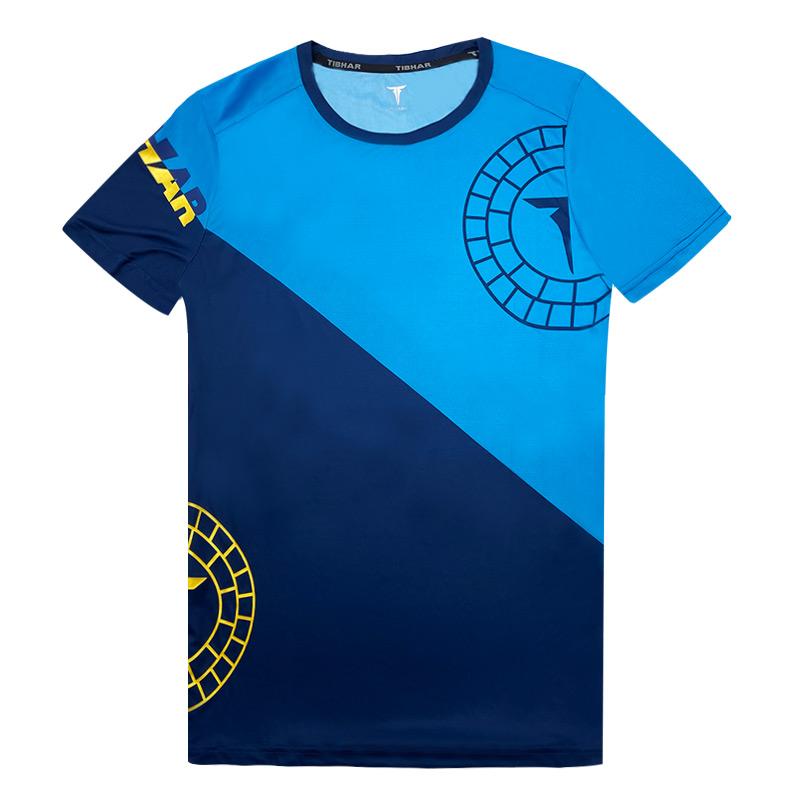 TIBHAR挺拔 02101 德国乒乓球服深蓝色圆领短袖运动服比赛训练速干透气
