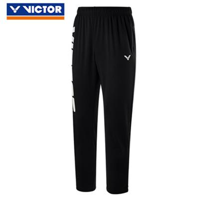 威克多VICTOR运动长裤 P-90808C男女款黑色羽毛球长裤(大LOGO设计,简约之选,偏薄)