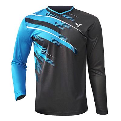 威克多VICTOR长袖T恤 T-75102男款蓝色长袖圆领速干羽毛球服