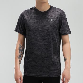 Tourmark男款柔软轻薄反光设计夜跑安全训练服休闲舒适透气健身圆领半袖T恤 麻黑色