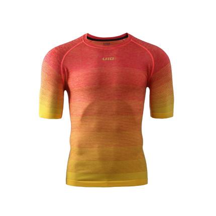 UTO悠途 男款圆领跑步短袖快干运动衣马拉松透气快干衣越野T恤 炫彩红974106
