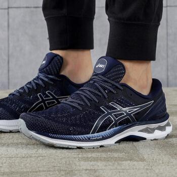 ASICS亚瑟士 男款新品K27稳定支撑跑步鞋KAYANO27透气网面跑步鞋 深蓝/灰色1011A767-400