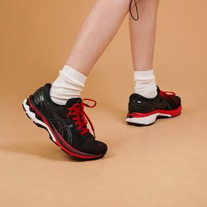 ASICS亚瑟士 男款新品K27稳定支撑跑步鞋KAYANO27透气网面跑步鞋 黑/红色1011A767-600