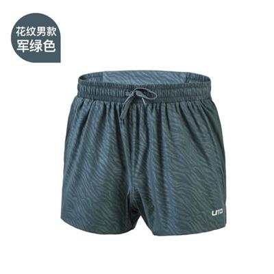 UTO悠途 男款健身速干三分宽松短裤马拉松跑步短裤田径训练体考薄款运动裤 花纹军绿色