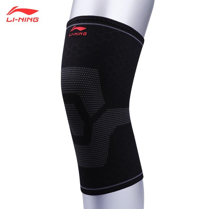 李宁(Lining)护膝 LQAM807-1 训练护腿护具,弹力针织款,适用各种运动场景,黑色(单只)