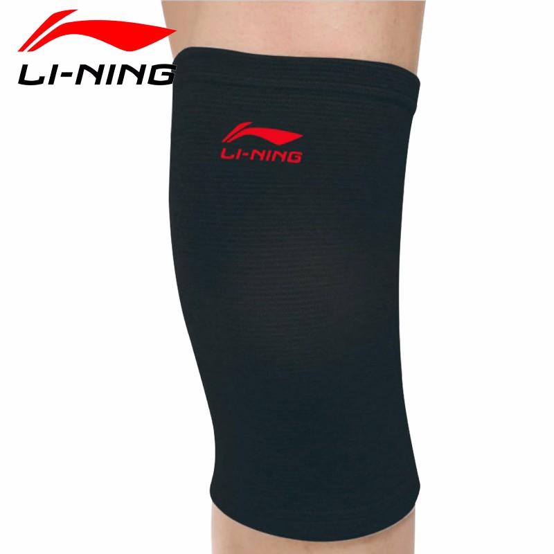 李宁(Lining)护膝 LQAH602-1 膝盖保护套护具,弹力透气薄款,适用各种运动场景,黑色(单只)