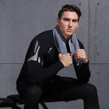 范斯蒂克 男款紧身衣运动弹力透气健身服训练跑步T恤篮球服 黑色拼网长袖 MBF75601