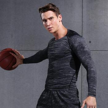 范斯蒂克 男款紧身衣运动弹力透气健身服训练跑步T恤篮球服 黑色印花长袖 MBF75901