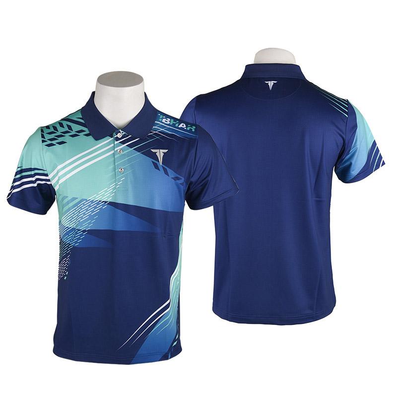 TIBHAR挺拔 2020-3 炙热翻领T恤蓝绿色短袖德国乒乓球服比赛训练速干透气乒乓球服