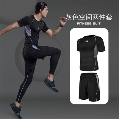 X SHADOW 多功能男士健身服速干透气跑步健身两件套 灰色空间两件套