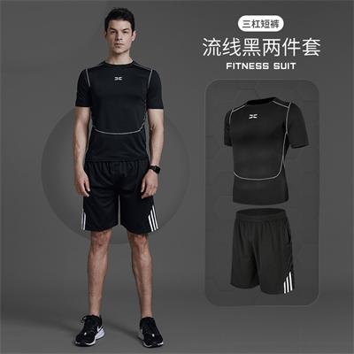 X SHADOW 多功能男士健身服速干透气跑步健身两件套 流线黑短袖+三杠短裤